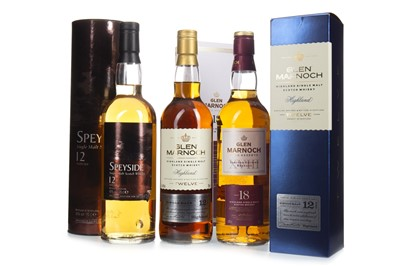 Lot 316-GLEN MARNOCH AGED 18 YEARS, GLEN MARNOCH AGED 12 YEARS AND SPEYSIDE 12 YEARS OLD