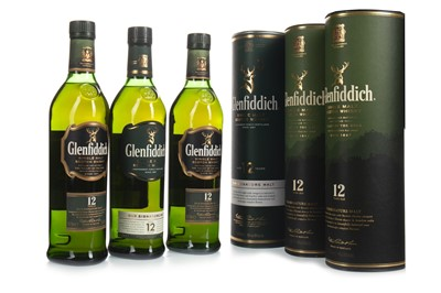 Lot 319-THREE BOTTLES OF GLENFIDDICH 12 YEARS