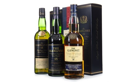 Lot 324-THREE BOTTLES OF GLENLIVET AGED 18 YEARS