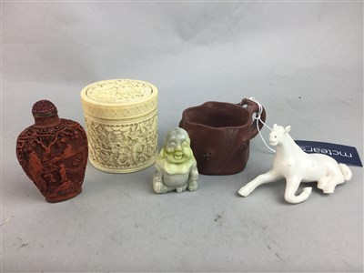 Lot 50A - AN IVORY BOX, CUP, BOTTLE, BUDDHA AND HORSE FIGURES