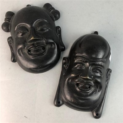Lot 60A - A LOT OF TWO 20TH CENTURY CHINESE BRONZE WALL MASKS