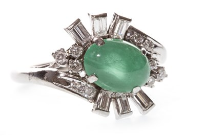 Lot 74-A GREEN GEM AND DIAMOND RING