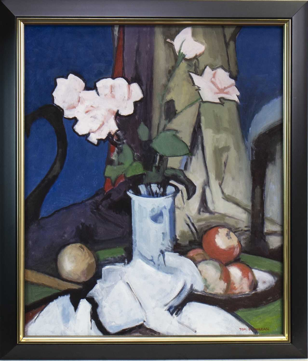Lot 531-STILL LIFE WITH PINK ROSES, AN OIL BY TOM FLANAGAN