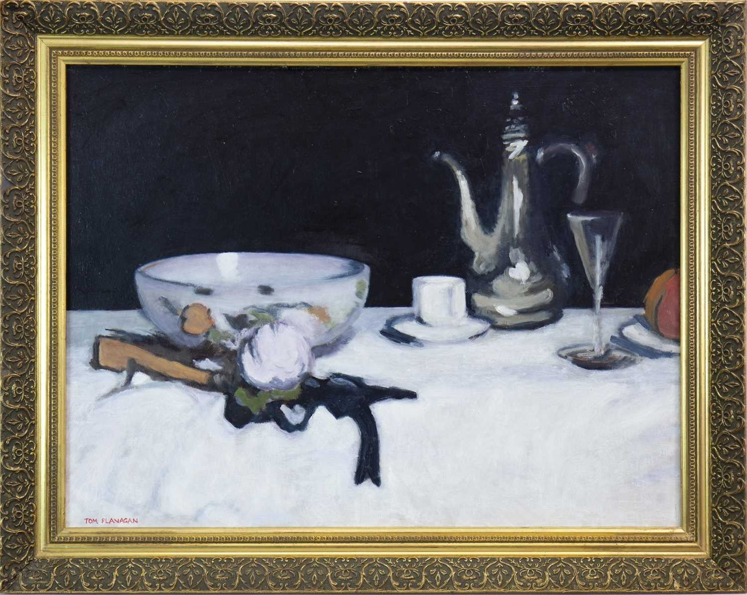 Lot 534-STILL LIFE WITH A COFFEE POT, AN OIL BY TOM FLANAGAN