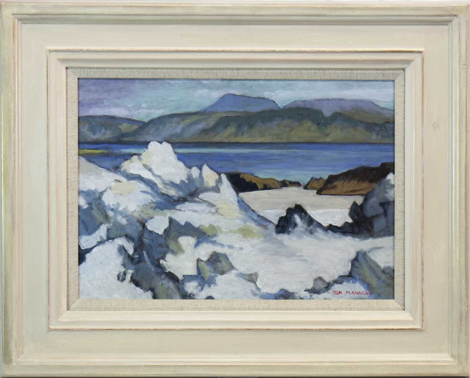 Lot 537-WHITE SANDS, AN OIL BY TOM FLANAGAN