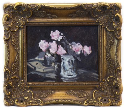 Lot 540-STILL LIFE WITH PINK ROSES, AN OIL BY TOM FLANAGAN