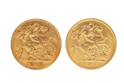 Lot 547-TWO GOLD HALF SOVEREIGNS, 1909 AND 1912