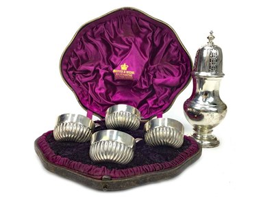 Lot 905 - A SILVER SUGAR CASTER AND FOUR SALT DISHES