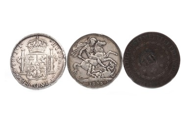 Lot 550-TWO SILVER COINS AND A COPPER COIN