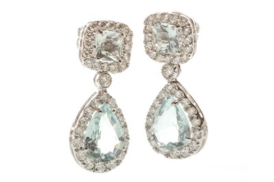 Lot 118-A PAIR OF AQUAMARINE AND DIAMOND EARRINGS