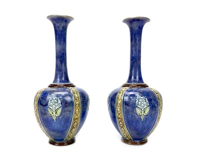Lot 1203-A PAIR OF ROYAL DOULTON STONEWARE VASES