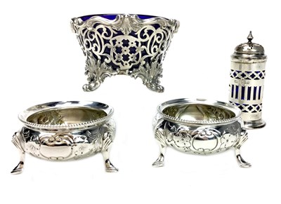 Lot 942 - AN EARLY 19TH CENTURY SILVER SALT WITH A PAIR OF SALTS AND PEPPER POT
