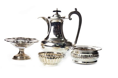 Lot 943 - EARLY 20TH CENTURY SILVER WATER JUG ALONG WITH A BONBON DISH, BOWL AND WINE SLIDE
