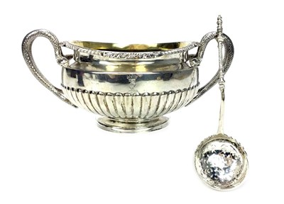 Lot 915 - A GEORGE III SILVER SUGAR BOWL WITH SIFTER SPOON