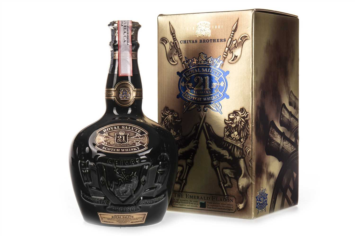 Lot 415-CHIVAS REGAL ROYAL SALUTE 21 YEARS OLD - EMERALD FLAGON
