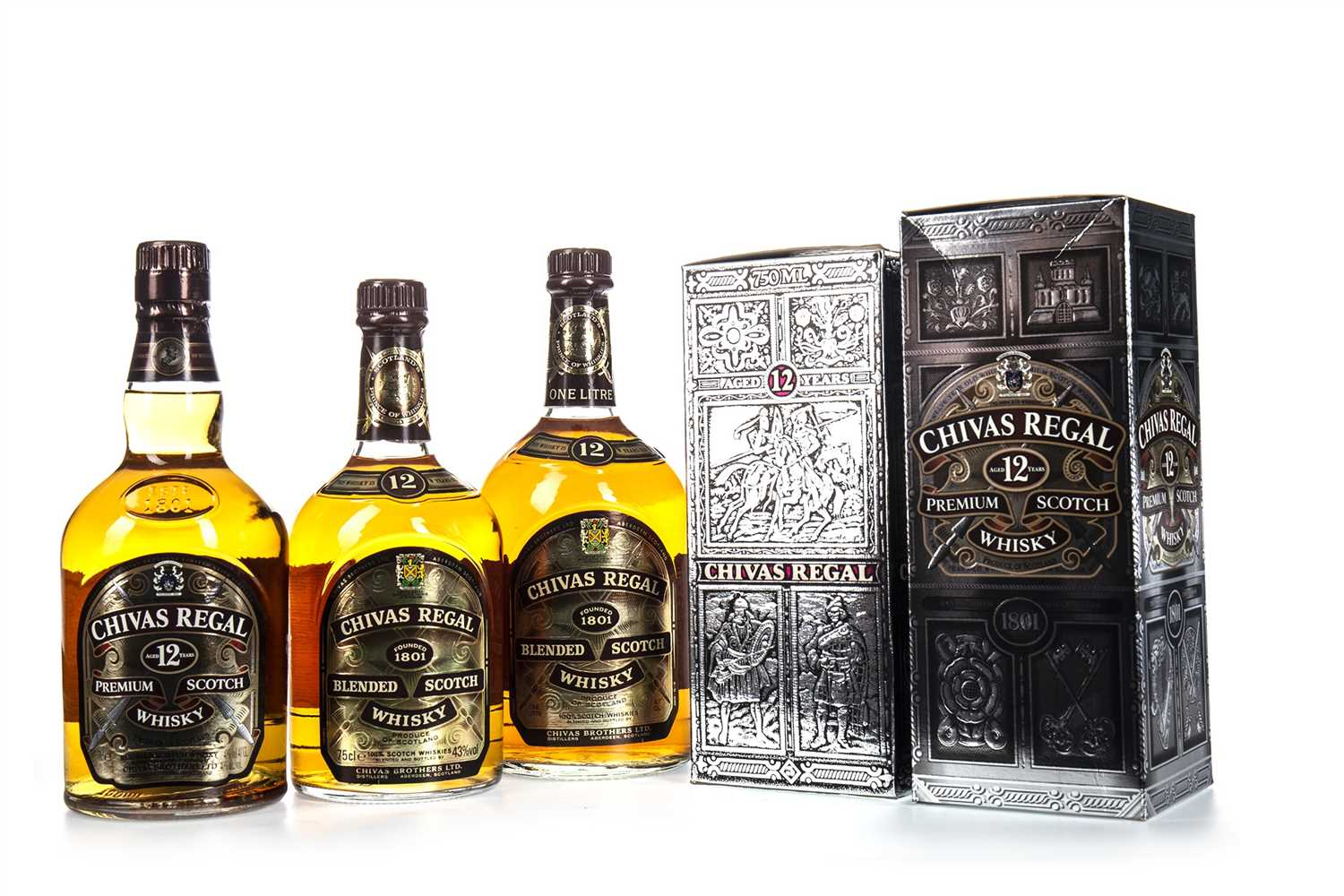 Lot 419 - TWO BOTTLES AND ONE LITRE OF CHIVAS REGAL 12 YEARS OLD