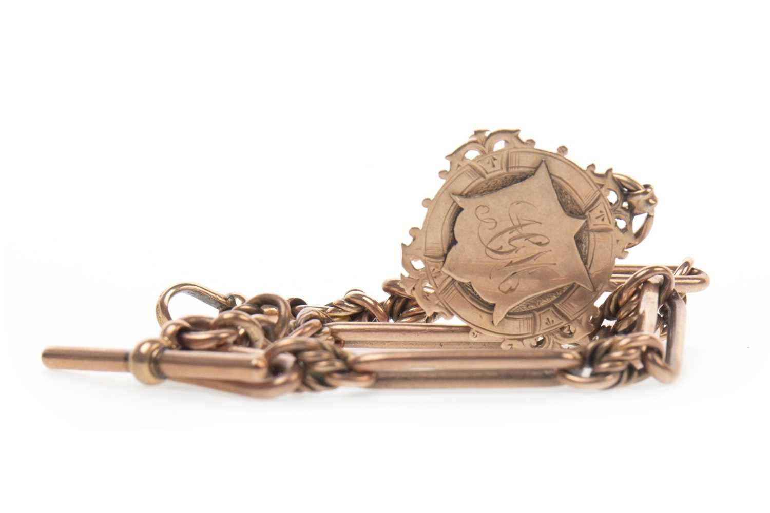 Lot 770-AN EDWARDIAN ROSE GOLD WATCH CHAIN