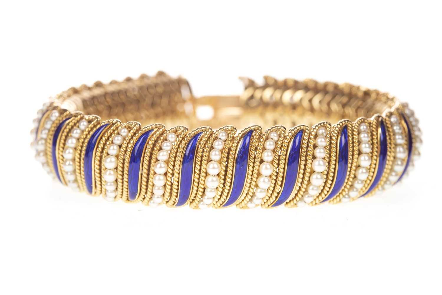 Lot 162-A GARRARD AND CO. GOLD ENAMEL AND PEARL BRACELET