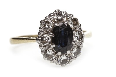 Lot 22-A BLUE GEM AND DIAMOND CLUSTER RING