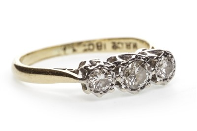 Lot 23-A DIAMOND THREE STONE RING