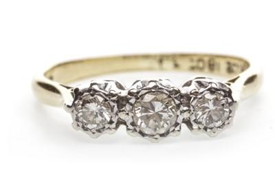 Lot 23-A DIAMOND THREE STONE RING