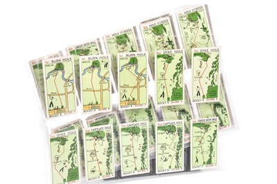 Lot 1843 - A SET OF 'CAN YOU BEAT BOGEY AT ST ANDREWS' CHURCHMAN'S CIGARETTE CARDS WITH RELATED SILVER SPOONS