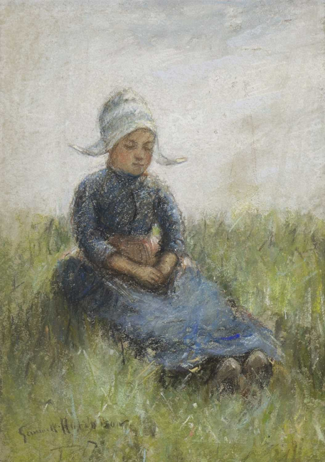 Lot 499-YOUNG GIRL IN THE GRASS, A PASTEL BY ROBERT GEMMELL HUTCHISON