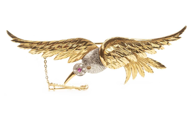 Lot 16-A DIAMOND SET GOLD BIRD BROOCH