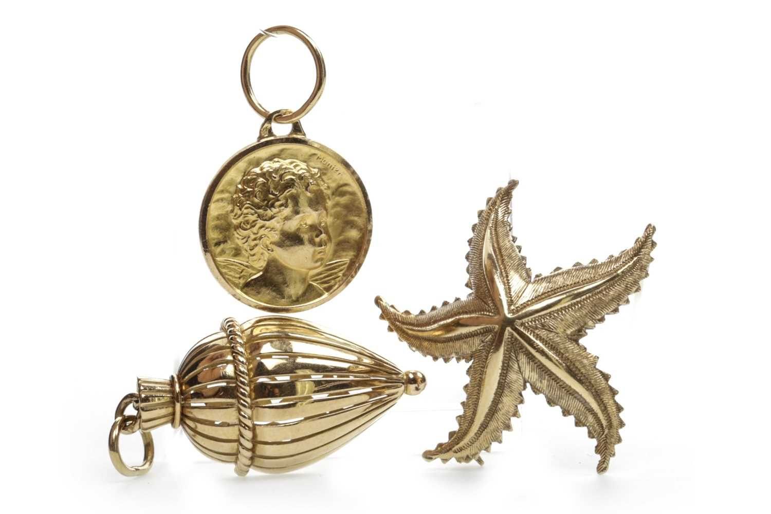 Lot 20-TWO GOLD PENDANTS AND A BROOCH