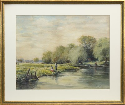 Lot 601-FISHING BY THE STREAM, A WATERCOLOUR BY C R SELLAR