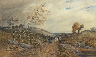Lot 602-FIGURES ON A COUNTRY PATH, A WATERCOLOUR
