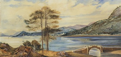 Lot 461-VIEW TOWARDS INVERARY CASTLE, A WATERCOLOUR BY ANDREW NICHOL