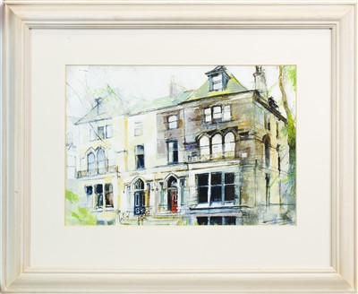 Lot 565 - THE RED DOOR, WESTBOURNE GARDENS, A WATERCOLOUR BY KENNETH A BURNS