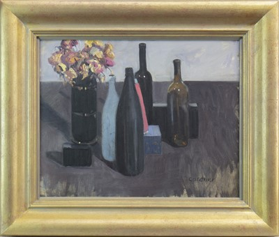 Lot 575 - STILL LIFE WITH PINK CONE, AN OIL BY SANDIE GARDNER