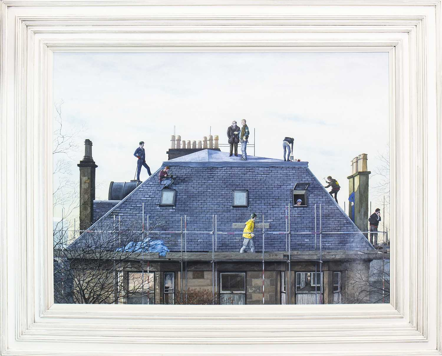Lot 591 - TOPPING OUT DAY, A WATERCOLOUR BY AVRIL PATON