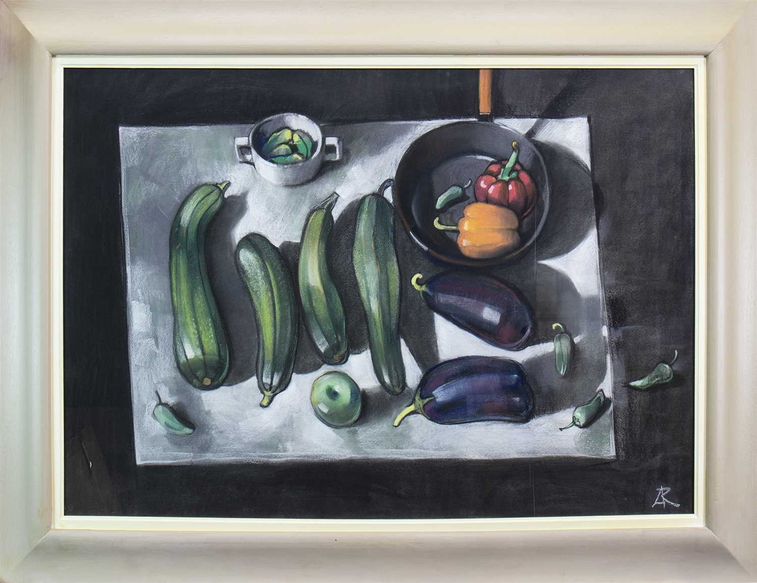 Lot 561 - COURGETTES AND AUBERGINES, A PASTEL BY ALEXANDER ROBB