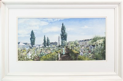 Lot 711 - THE ALLOTMENT, A WATERCOLOUR BY AVRIL PATON