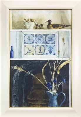 Lot 633-FIREPLACE WITH BLUE DELFT, A WATERCOLOUR BY GEORGE GILBERT