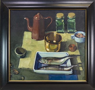 Lot 577-TWO FISH AND A COPPER KETTLE, AN OIL BY ALEXANDER ROBB