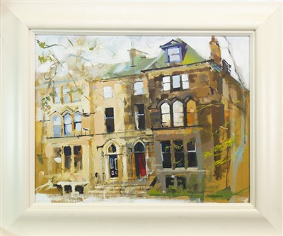 Lot 639-FACADES OF CONTRASTS, WESTBOURNE GARDENS, AN OIL BY KENNETH A BURNS