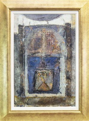 Lot 583-TEMPLE DOOR, A MIXED MEDIA BY TOM MCKENDRICK