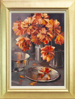 Lot 523-POPPIES AND PEWTER, AN OIL BY ETHEL WALKER