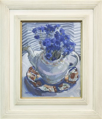 Lot 589 - TEAPOT AND CORNFLOWERS, AN OIL BY CATRIONA CAMPBELL