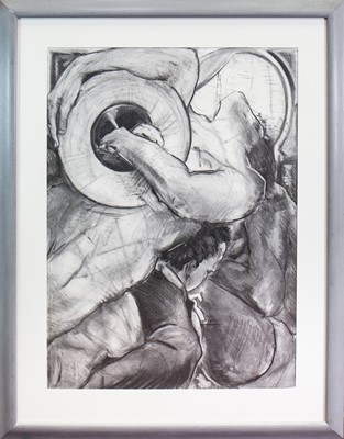 Lot 559 - FIGURES IN MOTION, A CHARCOAL BY STEPHEN CARRUTHERS