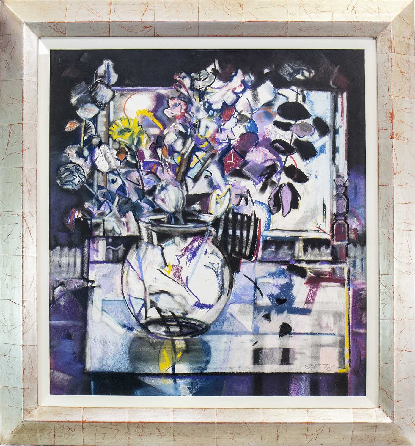 Lot 573 - THE GLASS BOWL, A PASTEL BY STEPHEN CARRUTHERS