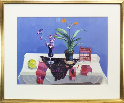 Lot 511-ORCHIDS AND ORANGE LILY, AN OIL BY MARION NOTMAN