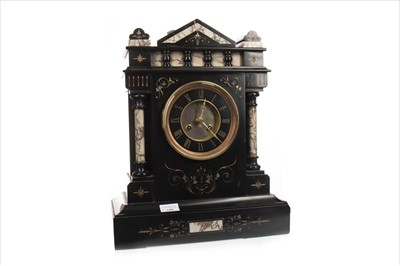 Lot 1108-A VICTORIAN BLACK SLATE AND MARBLE MANTEL CLOCK