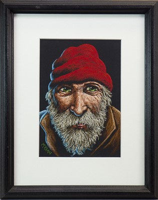 Lot 538-TRAWLER MAN WEARING A RED HAT, A PASTEL BY GRAHAM MCKEAN
