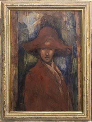 Lot 457-PORTRAIT IN RED, AN OIL BY ROBERT PLISNIER