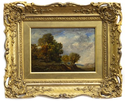 Lot 456-LANDSCAPE WITH TREES, AN OIL BY JOHN LINNELL